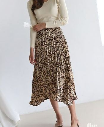 Leopard Patterns Casual Style Pleated Skirts Long Khaki