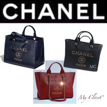 CHANEL DEAUVILLE Monogram Calfskin Studded Street Style 2WAY Chain Plain