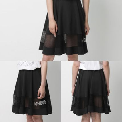 Flared Skirts Street Style Collaboration Plain Cotton Medium