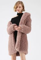 Chicwish Casual Style Faux Fur Street Style Plain Medium Wrap Coats