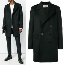 Saint Laurent Wool Street Style Plain Peacoats Coats