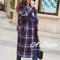 Tartan Other Check Patterns Casual Style Long Coats