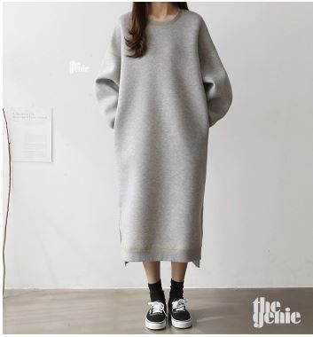 Crew Neck Casual Style Long Sleeves Plain Long Oversized