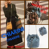 GIANNI CHIARINI Casual Style Suede Chain Plain Shoulder Bags