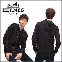 HERMES Nylon Street Style Long Sleeves Plain Other Animal Patterns