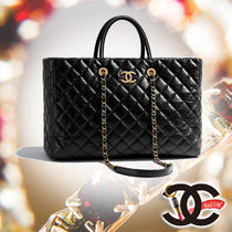 CHANEL Calfskin A4 3WAY Chain Plain Elegant Style Handbags