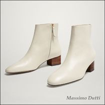 Massimo Dutti White Nappa Leather Elegant Style Ankle Boots