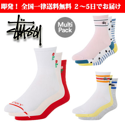Stripes Dots Unisex Street Style Cotton Socks & Tights