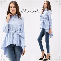 Chicwish Stripes Casual Style Long Sleeves Medium Shirts & Blouses