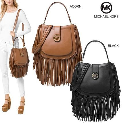 9911f48124f9 ... Michael Kors Shoulder Bags Plain Leather Fringes Shoulder Bags ...