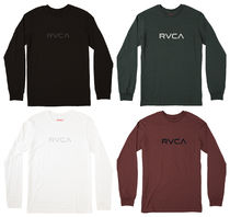RVCA Crew Neck Long Sleeves Plain Cotton Khaki Bold