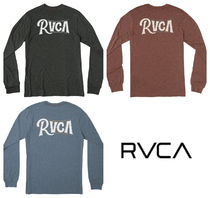 RVCA Crew Neck Long Sleeves Plain Cotton Long Sleeve T-Shirts