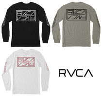 RVCA Crew Neck Long Sleeves Plain Cotton Logos on the Sleeves