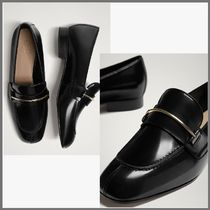 Massimo Dutti Moccasin Plain Leather Block Heels Office Style