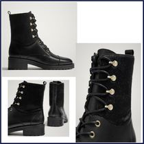 Massimo Dutti Round Toe Lace-up Plain Leather Block Heels Lace-up Boots