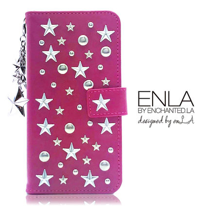 Star Dots Unisex Studded Chain Leather Smart Phone Cases