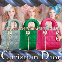 Christian Dior LADY DIOR Other Check Patterns Lambskin 3WAY Chain Plain Elegant Style