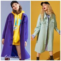 ELF SACK Stand Collar Coats Casual Style Wool Street Style Plain Long