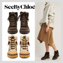 See by Chloe Round Toe Rubber Sole Casual Style Suede Plain