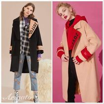 ELF SACK Casual Style Wool Street Style Bi-color Plain Long Coats