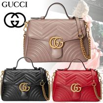 79f0a400f11 GUCCI GG Marmont Heart Blended Fabrics 2WAY Chain Plain Leather Elegant  Style (498110 DTDIT 1000
