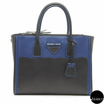 PRADA CONCEPT  Calfskin A4 2WAY Bi-color Oversized Elegant Style Handbags