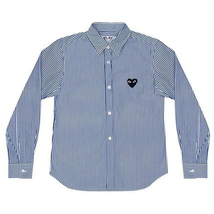 COMME des GARCONS Shirts Stripes Heart Street Style Long Sleeves Shirts 2