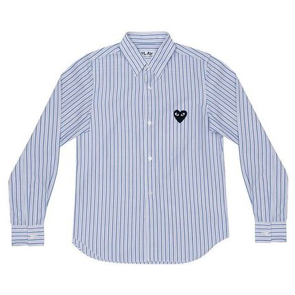 COMME des GARCONS Shirts Stripes Heart Street Style Long Sleeves Shirts 3