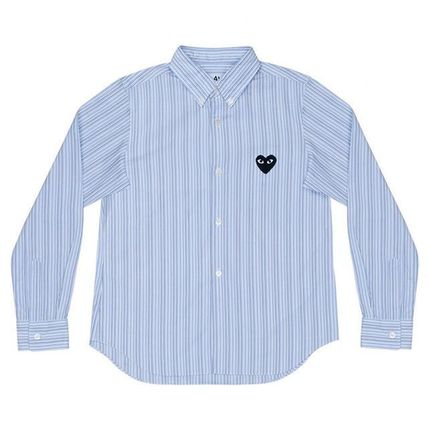 COMME des GARCONS Shirts Stripes Heart Street Style Long Sleeves Shirts 4