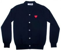 COMME des GARCONS Heart Wool Street Style Plain Cardigans