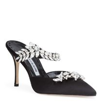 Manolo Blahnik Blended Fabrics Plain Pin Heels Party Style With Jewels