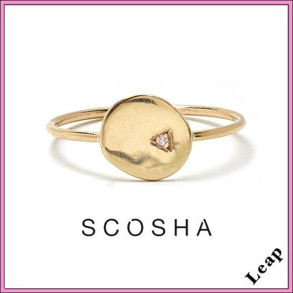 Casual Style Unisex Coin Studded Handmade 10K Gold Rings