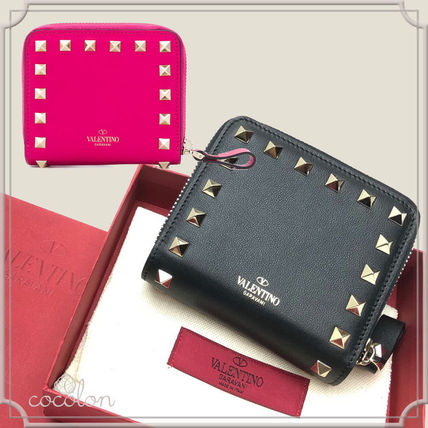 Calfskin Studded Plain Folding Wallets