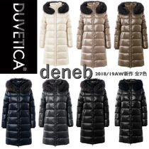 DUVETICA Fur Blended Fabrics Plain Long Down Jackets