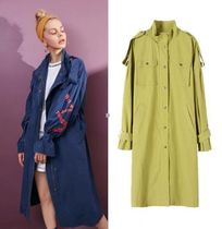 ELF SACK Casual Style Street Style Long Oversized Trench Coats