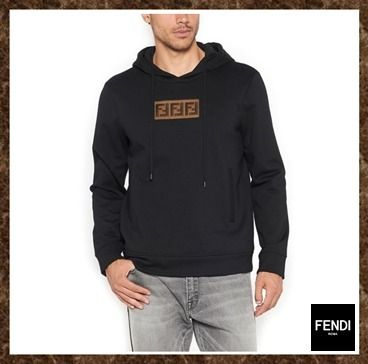 c3ab7b1a61 FENDI Hoodies Pullovers Monogram Street Style Long Sleeves Cotton Hoodies  ...