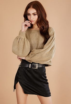 Casual Style U-Neck Long Sleeves Medium Sweaters