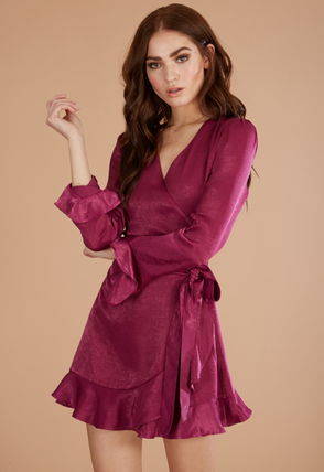Wrap Dresses Short V-Neck Long Sleeves Plain Party Style