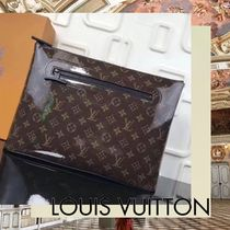 Louis Vuitton Monogram Unisex A4 Leather Clutches