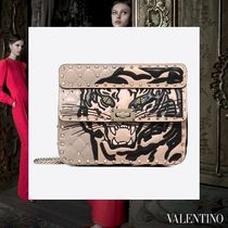 VALENTINO Studded 2WAY Chain Other Animal Patterns Leather With Jewels