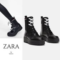 ZARA Platform Lace-up Casual Style Plain Leather Lace-up Boots