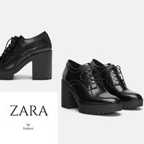 ZARA Platform Lace-up Casual Style Plain Lace-up Boots