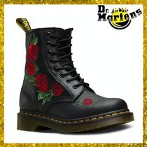 Dr Martens Flower Patterns Round Toe Rubber Sole Lace-up Casual Style