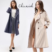 Chicwish Casual Style Street Style Plain Medium Trench Coats