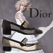 Christian Dior Dots Blended Fabrics Leather Ballet Shoes