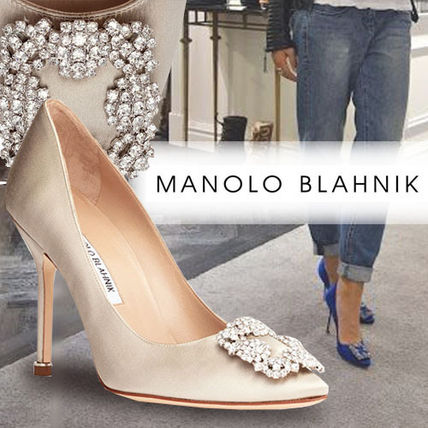 Blended Fabrics Plain Pin Heels Party Style With Jewels