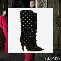 VALENTINO Casual Style Suede Studded High Heel Boots