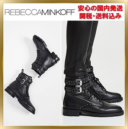 Round Toe Rubber Sole Lace-up Unisex Studded Plain Leather