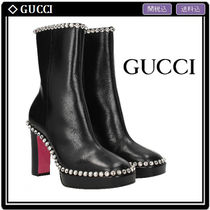 GUCCI Square Toe Leather Block Heels With Jewels Elegant Style