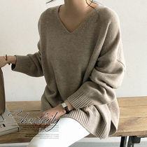 Casual Style V-Neck Long Sleeves Plain Sweaters